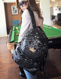 Fashion Black Crown Shape Decorated Backpack