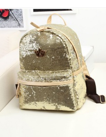 Fashion Gold Color Crown Shape Decorated Backpack