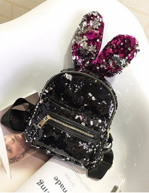 Lovely Black+plum-red Rabbit Ears Shape Decorated Backpack