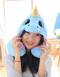 Lovely Blue Unicorn Shape Decorated Pillow