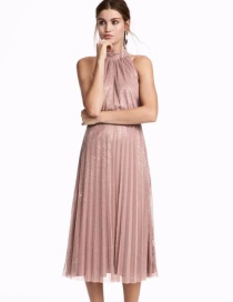 Sexy Pink Off-the-shoulder Decorated Long Dress