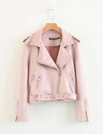 Fashion Pink Pure Color Decorated Jacket