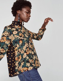 Fashion Green+yellow Flower Shape Decorated Blouse