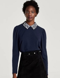 Fashion Navy Pure Color Decorated Blouse
