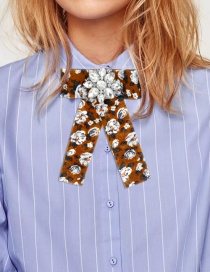 Fashion Brown Waterdrop Shape Decorated Bowknot Brooch