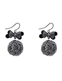 Lovely Black Bowknot Shape Decorated Earrings