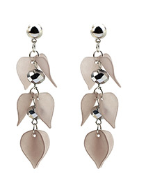 Elegant Gray Petal Shape Decorated Earrings