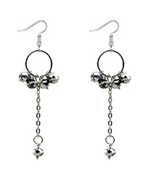 Elegant Dark Dray Round Shape Decorated Earrings