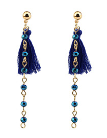 Bohemia Blue Tassel Decorated Long Earrings