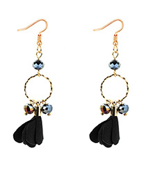 Elegant Black Petal Shape Decorated Earrings