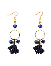 Elegant Sapphire Blue Round Shape Decorated Earrings