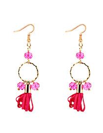Elegant Plum-red Round Shape Decorated Earrings