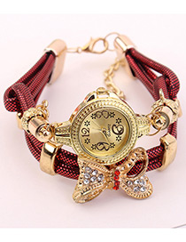 Elegant Red Bowknot Shape Decorated Watch