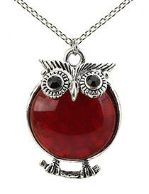 Lovely Red Owl Shape Decorated Necklace