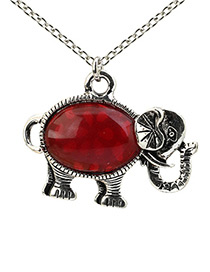 Lovely Red Elephant Shape Decorated Necklace