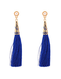 Fashion Sapphire Blue Pure Color Decorated Tassel Earrings