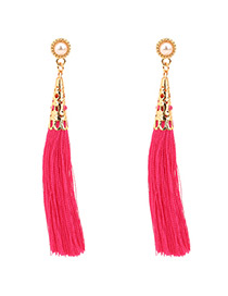 Fashion Plum Red Pure Color Decorated Tassel Earrings