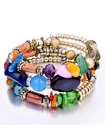 Vintage Multi-color Beads Decorated Multi-layer Bracelet
