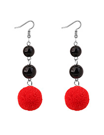 Elegant Red Fuzzy Ball Decorated Pom Earrings