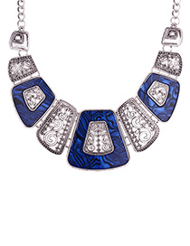 Exaggerated Sapphire Blue Square Shape Decorated Necklace