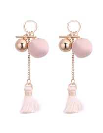 Fashion Pink Tassel&fuzzy Ball Decorated Long Earrings