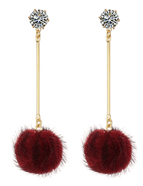 Fashion Claret Red Fuzzy Ball Decorated Long Pom Earrings