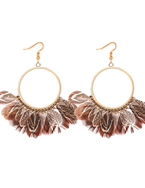 Exaggerated Coffee Feather Decorated Circular Ring Design Earrings
