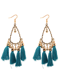 Fashion Blue Balls Decorated Tassel Earrings