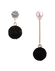 Elegant Black Round Shape Decorated Asymmetric Earrings
