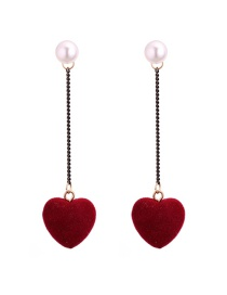 Lovely Claret-red Heart Shape Decorated Earrings
