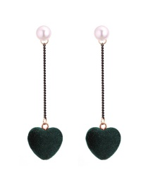 Lovely Army Green Heart Shape Decorated Earrings