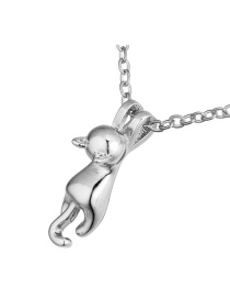 Fashion Silver Color Cat Shape Decorated Necklace