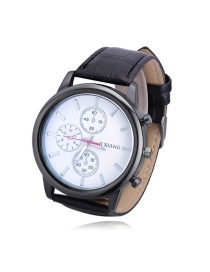 Fashion Black Three Dials Pattern Decorated Watch
