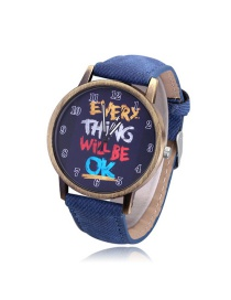 Elegant Blue Graffiti Pattern Decorated Round Dial Watch