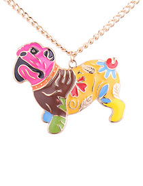 Fashion Multi-color Pug Shape Decorated Necklace