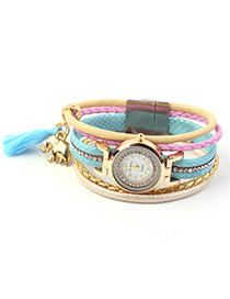 Trendy Blue Elephant&tassel Decorated Multi-layer Watch