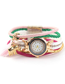Trendy Pink Elephant&tassel Decorated Multi-layer Watch