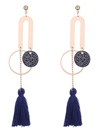 Personality Navy Round Shape Decorated Long Tassel Earrings