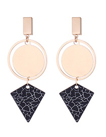 Elegant Gold Color+black Geometric Shape Design Simple Earrings