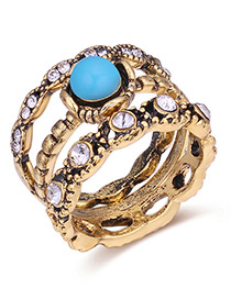 Fashion Gold Color+blue Diamond Decorated Hollow Out Ring Sets(3pcs)