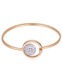 Elegant Gold Color Round Ball Decorated Hollow Out Bracelet