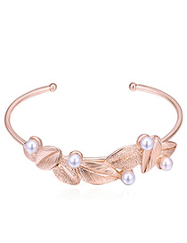 Sweet Rose Gold Leaf&pearls Decorated Opening Bracelet