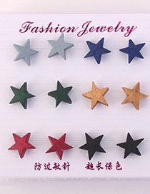 Elegant Multi-color Stars Shape Design Color Mathcing Earrings(6pcs)