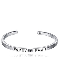 Elegant Silver Color Letter Pattern Decorated Pure Color Bracelet