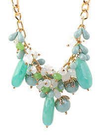 Fashion Blue+white Beads Decorated Color Matching Necklace