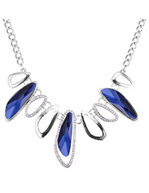 Elegant Blue Geometric Shape Design Simple Necklace