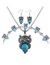 Fashion Blue Owls Pendant Decorated Jewelry Sets