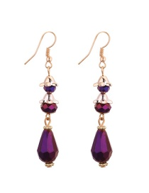 Fashion Purple Water Drop Shape Diamond Decorared Earrings