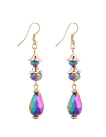 Fashion Multi-color Water Drop Shape Diamond Decorared Earrings