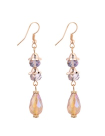 Fashion Gold Color Water Drop Shape Diamond Decorared Earrings
